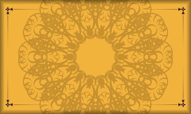 Желтый баннер с винтажным коричневым узором и пространством для логотипа