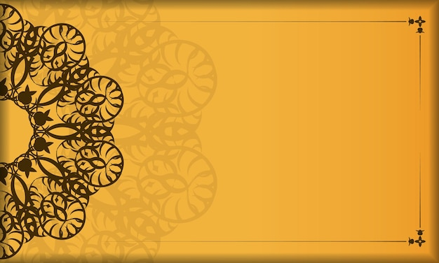 Yellow banner with vintage brown pattern for design under your logo