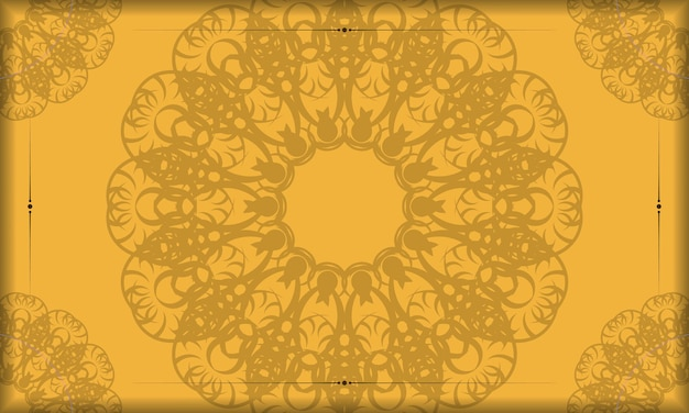 Желтый баннер с винтажным коричневым узором для дизайна логотипа