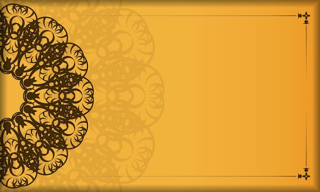 Yellow banner with vintage brown pattern and logo space