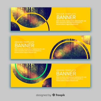 Yellow banners with images