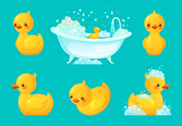 Yellow bath duck. bathroom tub with foam, relaxing bathing and spa rubber ducks cartoon illustration