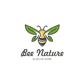 Yellow bee on white logo