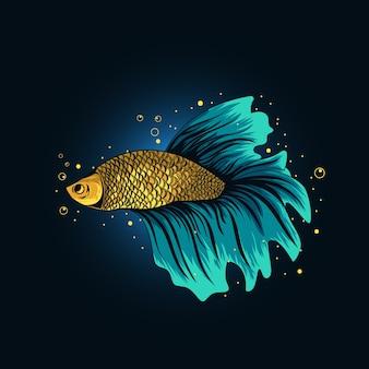 黄色のベタの魚のイラスト