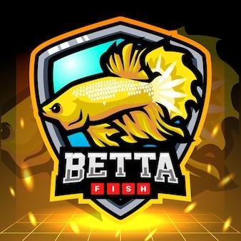 노란색 betta 물고기 마스코트 esport 로고 디자인