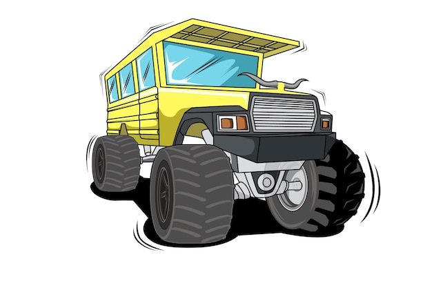 Yellow big classical monster truck   hand drawing