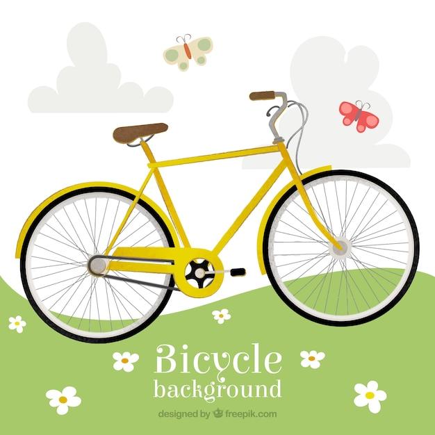 田舎の背景に黄色い自転車