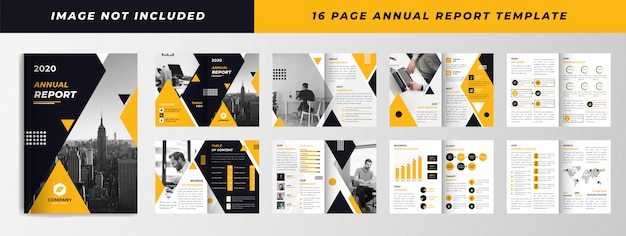 Yellow black 16 page annual report template