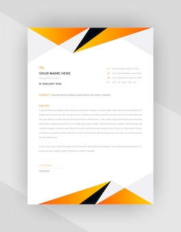 Yellow & black abstract letterhead template design.