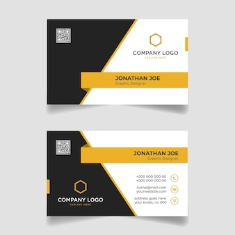 Yellow and black business card modern template design premium vector