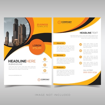 Yellow and black business flyer template with wavy shapes