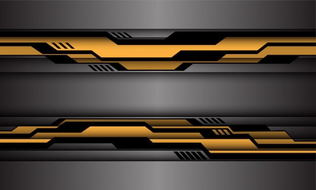 Yellow black circuit cyber on silver futuristic technology style background.