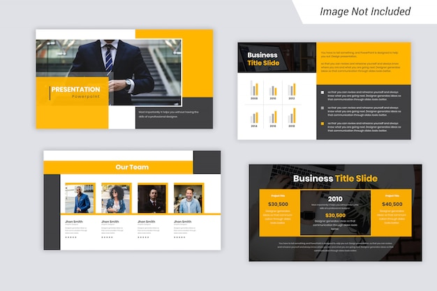 Yellow and black color business presentation slides design