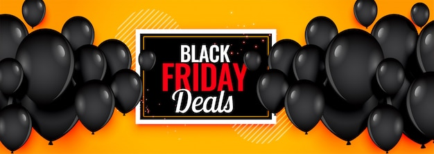 Yellow black friday deals balloons banner
