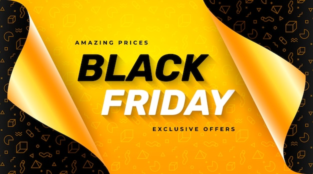 Yellow black friday sale banner with open gift wrap paper