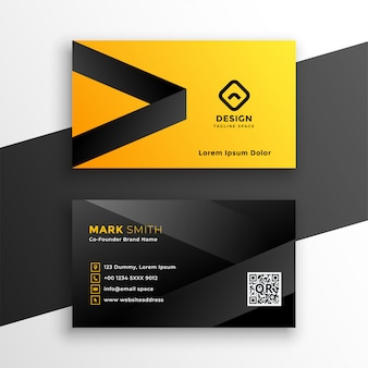 Yellow and black modern business card