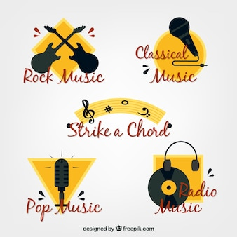 Yellow and black music stickers