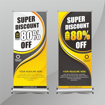Yellow and black roll up banner