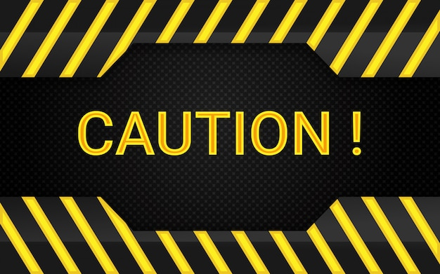 Yellow and black stripes caution background design