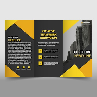 Yellow and black trifold business brochure template