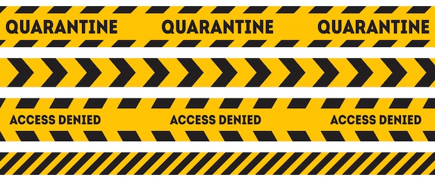 Yellow and black warning line. caution and danger tapes. quarantine. access denied