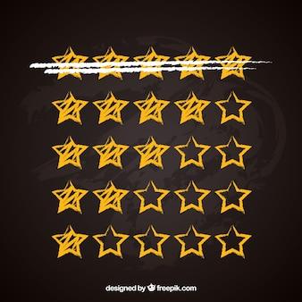 Yellow blackboard star rating concept