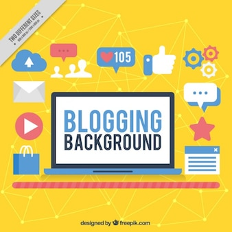 Yellow blogging background with icons