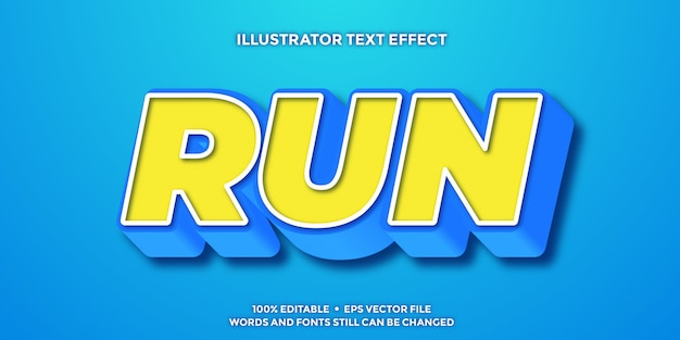 Yellow and blue 3d text effect editable templates
