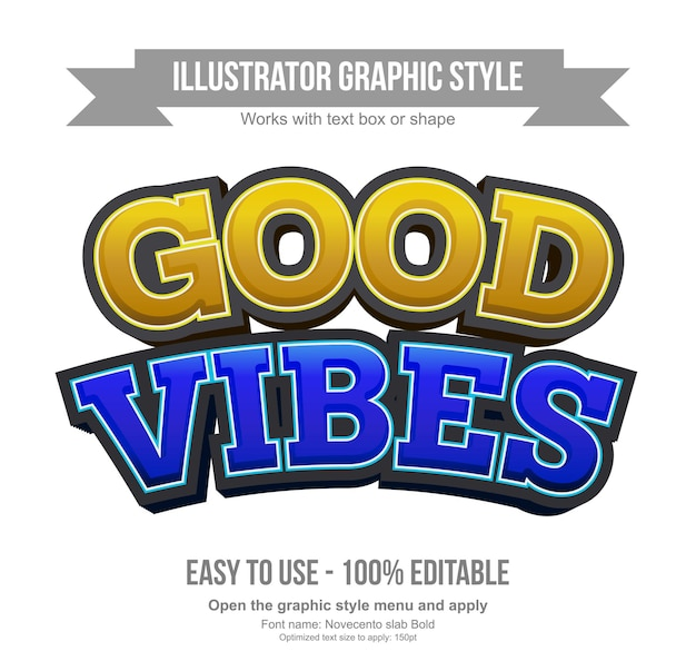 Yellow and blue arched 3d cartoon editable text effects Premium Vector