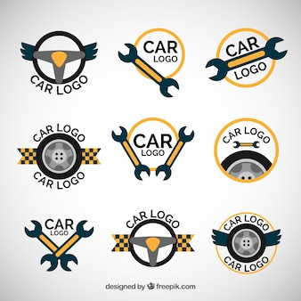 Yellow and blue car logo set
