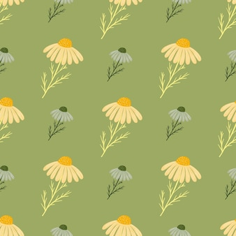 Yellow and blue chamomile flowers seamless pattern in floral style. green background