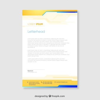 Yellow and blue corporate brochure with wavy shapes