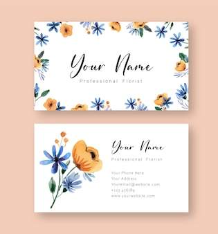 Yellow and blue floral watercolor name card template