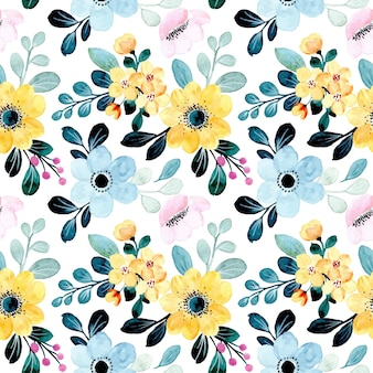 Yellow blue floral watercolor seamless pattern