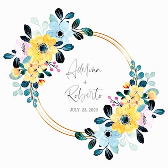 Yellow blue floral wreath watercolor with golden frame