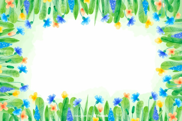 Yellow and blue flowers watercolour floral background