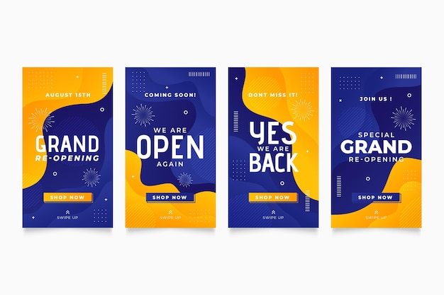 Yellow and blue grand re-opening instagram stories Free Vector