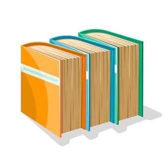 Yellow, blue and green thick books