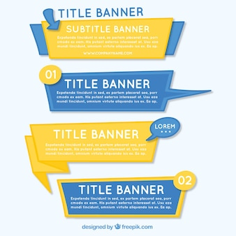 Yellow and blue infographic banners in hand-drawn style