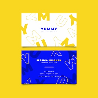 Yellow and blue letters business card template