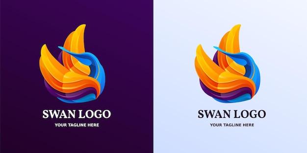 Yellow blue and purple swan shaped logo symbol