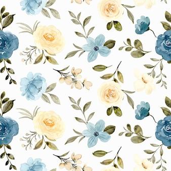 Yellow blue rose flower watercolor seamless pattern