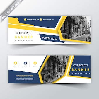 Yellow and blue two sided banner templates