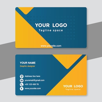 Yellow and blue visiting card template