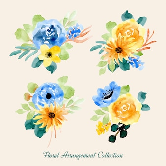黄色い青色の水彩フラワーアレンジメントコレクション