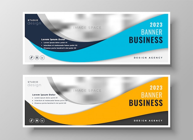 Yellow and blue wavy business banners