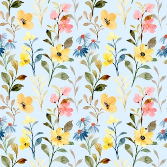 Yellow and blue wild floral watercolor seamless pattern