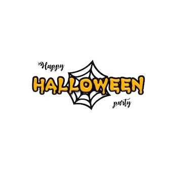 Yellow blurry text similar to pumpkin sauce against the background of a stylized black cobweb
