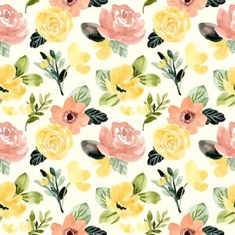Yellow blush green flower watercolor seamless pattern