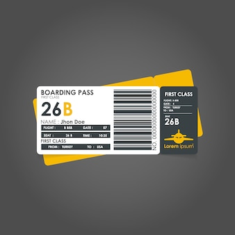 Yellow boarding pass template